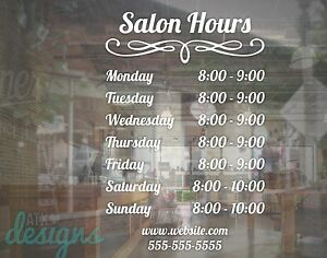 Custom Salon Hours Sign Vinyl Decal Sticker 16x24 Window Door Glass