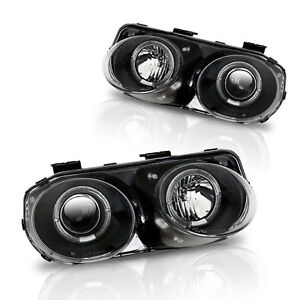 Stealth 1998 2001 Acura Integra Projector Halo Headlights Black Clear