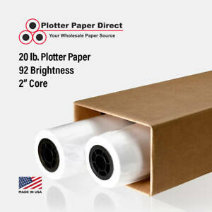 2 Rolls 36 X 300 20lb Bond Plotter Paper For Wide Format Inkjet Printers