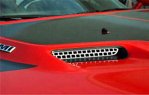 2008 2014 Dodge Challenger Hood Scoop Grille Overlay Polished 2pc 152013