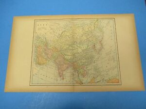 1893 Popular Atlas Map 2 Page Asia Nice Color Suitable To Frame 13 1 2 X 22