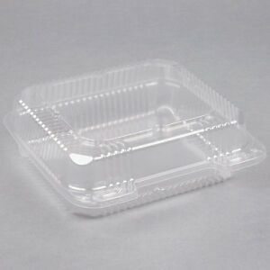 250 pack 8 X 8 X 3 Clear Hinged Lid Plastic Container