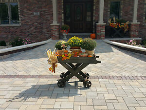 Antique Industrial Factory Iron Wheel Cart Planter Liquor Island Coffee Table 3