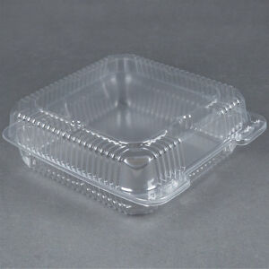 200 pack 9 X 9 X 3 Clear Hinged Lid Plastic Container