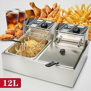 12l Dual Tanks Electric Deep Fryer Commercial Tabletop Fryer basket Scoop 5000w