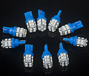 10x Pure Blue 921 T10 20 Smd Led Side Wedge License Plate Light Lamp Bulbs 192