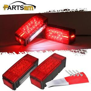 Left right Led Waterproof Red Trailer Boat Rectangle Stud Stop Turn Tail Lights