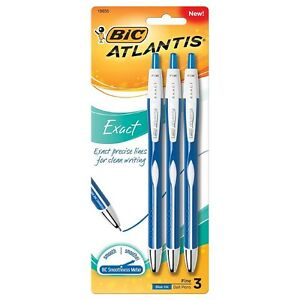 Bic Atlantis Exact Fine Point Retractable Ball Pen Blue 3 Ea pack Of 9