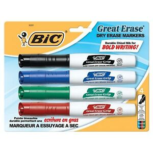 Bic Great Eraser Chisel Tip Dry Erase Marker Assorted Colors 4 Ea pack Of 9
