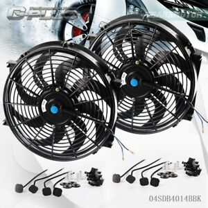 2 X 14 Universal 14 Slim Pull Push Racing Electric Radiator Engine Cooling Fan