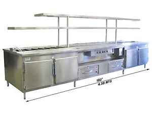 Food Prep Counter Stainless Steel Heavy Duty Cold Pans Shelves Well Warmers