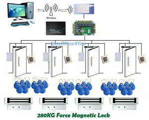 Wireless Access Control System Rfid Proximity Security Control Kits 4 Mag Locks