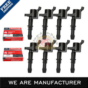 Set Of 8 Ignition Coils Dg511 Motorcraft Spark Plug Sp515 Sp546 For Ford Lincoln