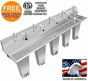 Wash Hand Sink 5 Person 100 Pedal Valve Columns 2 Welded Drains Made In America
