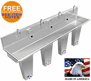 Hand Sink Floor Mount 4 Users 80 Pedal Valve Stainless Steel Wash up Lavatory