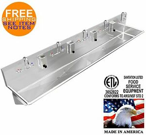 Stainless Steel Hand Sink 108 5 Users Manual Faucets 2 Drains 2 Npt Made In Us