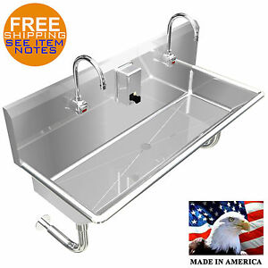 Hand Sink 2 Station 40 Wash Up Sink Hands Free 304 Stainless Steel Wall Mount