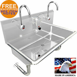 2 Station 36 Wash Up Sink Hands Free Heavy Duty 304 Stainless Stee