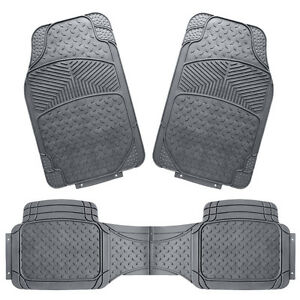 3pcs Rubber Car Floor Mat Universal Set Carpet Mats Rugs Truck Suv Vehicle Van