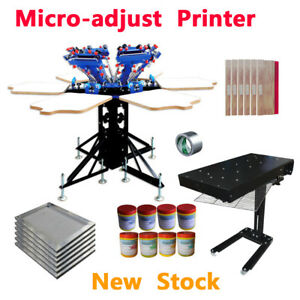 Micro adjust 6 Color Screen Printer Rotary Press With Flash Dryer