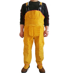 Heat Insulation Gear Safety Leather Welding Working Pants Rompers Bib Overall
