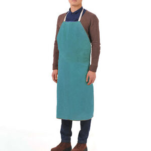 26 X 37 Leather Bib Welding Apron Heat Insulation Protection Safety Apron Blue