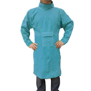 47 2 Leather Welding Apron Heat Insulation Protective Gear Safety Clothes Blue