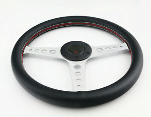350mm Universal Leather Red White Stitch Flat Silver Dish 6 Bolt Steering Wheel