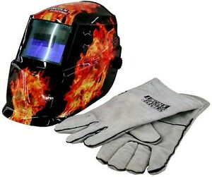 Lincoln Welding Helmet Auto Darkening Solar Mask Grinding Welder Plus Gloves New