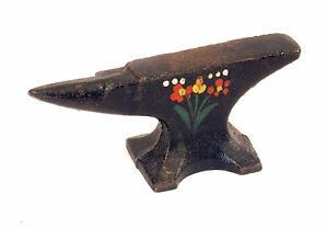 Antique Tiny 4 Forged Iron Anvil Folk Art W Painted Flowers Penn Dutch Style