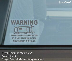 2 X Camper Van Protected By Tracking System Car Security Stickers Best Gifts