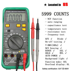 Multimeter Auto Ranging Digital 5999 Counts Voltage Capacitance Tester Detector