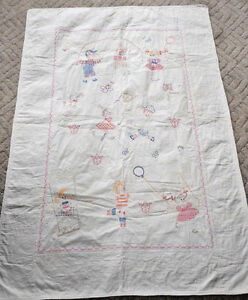 Vintage Embroidered Quilt Hand Stitched 62 X 45 Girl Boy Kite Balloon