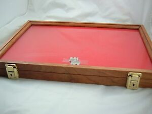 Wood Table Showcase Cherry Display Case Secure Display Foam Lining 9 5 X 12 X 2