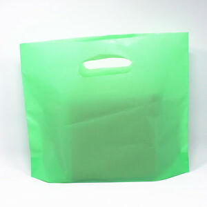 Green Plastic Shopping Bag With Handles Grocery Gift Pack Pouches
