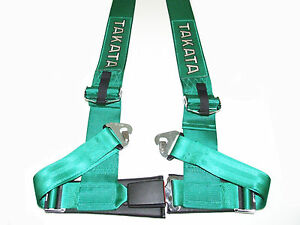 Takata Drift Iii 4 Point Snap on 3 Racing Seat Belt Harness green