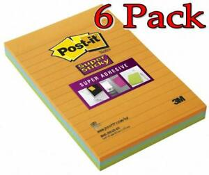 3m Post it Notes Super Sticky 4inchx6inch 3ct 6 Pack 021200474019a320