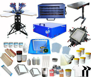 Full Set 4 Color Screen Printing Kit With All Assistant Press Equipment