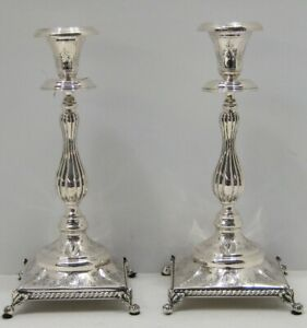 Antique Portuguese 925 Sterling Silver Intricate Detailed Square Candlesticks