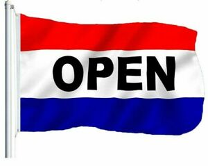 Open Flag Red White Blue Store Banner Advertising Pennant Business Sign 3x5