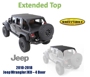 Smittybilt Extended Top Black Diamond For 10 18 Jeep Wrangler Jku 4 door 94635