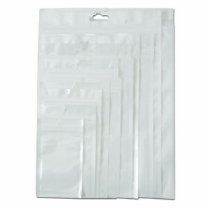Zip Lock Self Seal Clear white Plastic Packaging Bag With Hang Hole