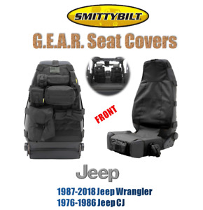 Smittybilt Front G E A R Seat Cover Black For 76 18 Jeep Wrangler Cj 5661001