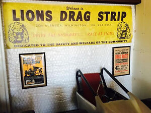 Vintage Style Lions Drag Strip Banner Hot Rod Rat Flathead Race Gasser Nhra