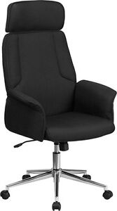 High Back Black Fabric Executive Swivel Office Conference Chair W Chrome Base