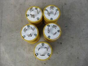 X5 Lot Of 5woodhead Turnex 891l 20a 125 250v Male 3 Wire Plug