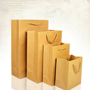 Brown Kraft Paper Shopping Bags With Handles Merchandise Gift Pack Pouches