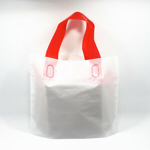 White Plastic Shopping Bag With Handles For T shirt Boutique Store Supply