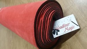 Red Alcantara Type Suede Auto Headliner Fabric W 1 8 Foam Sold By The Yard