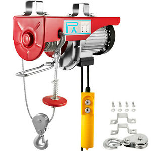 440lbs Electric Hoist Winch Lifting Engine Crane Cable Heavy Duty Steel Motor